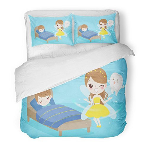 Set Beautiful Cute Cartoon Tooth Fairy with Boy Sleeping on the Bad Butterfly Decorative Bedding Set with 2 Pillow Shams Full/Queen Size ()
