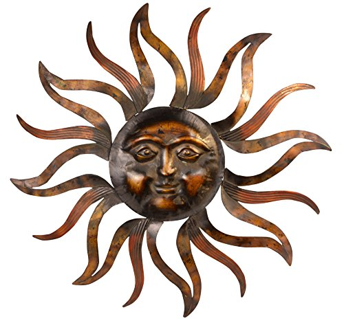 35 Inch Large Metal Sun Wall Decor Sculpture (Sun Metal Wall Large Art)