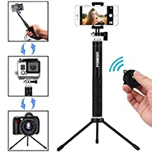Selfie Stick,Foneso Portable Foldable Extendable Monopod with Tripod Stand for iPhone 7 Plus 7 6s Samsung Galaxy S6 S5,Gopros,DSLR,Cameras,Bluetooth Remote Control for Ios/Android Phones(Black)