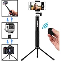 Selfie Stick, Foneso Extendable Monopod with Bluetooth Remote and Tripod Stand for iPhone 7 6S Plus 6S 6 Plus 6 5S Android Samsung Galaxy S6 S5 Note 4 Support Photo & Video (Black)