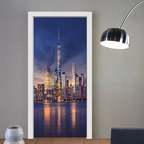 Gzhihine custom made 3d door stickers New York New York City Midtown with Empire State Building at Sunset Business Center Rooftop Photo Decor Peach For Room Decor 30x79