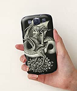 Hand-made Hot Selling Grotesque Painting Hard Case for Samsuang Galaxy S3(Monster Biting Its Tail)