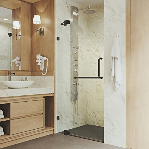 "VIGO VG6042ARBCL36 30"" – 36"" Pirouette Frameless Pivot Hinge Shower Door with SmartAdjust Technology, 3/8"" Clear Tempered Glass, 304 Stainless Steel Hardware, in Antique Rubbed Bronze Finish"