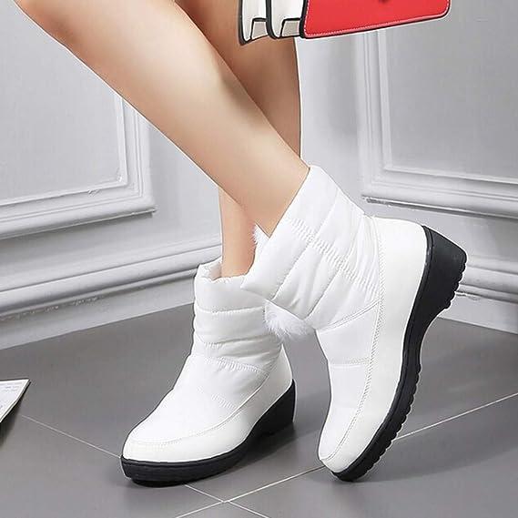 ❤ Botas de Nieve para Mujer de Felpa, Moda Zapatillas sin Cordones Impermeables de Punta Redonda para Mujer Tacón Medio Color sólido Botas Cortas: ...