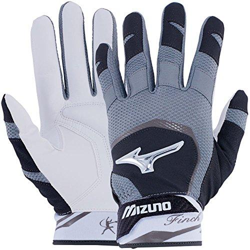 Mizuno Finch Adult Women's Fastpitch Softball Batting Gloves, Medium, Black/White