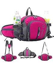 SINOKAL multifunktionell militärstil höftväska kanvasväska bältesväska vattenbeständig magväska med flaskhållare för löpning, vandring, cykling, klättring, campingresor