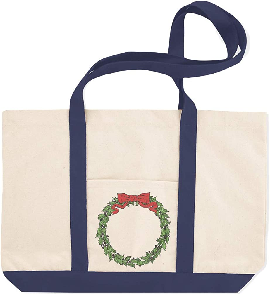 Canvas Shopping Tote Bag Christmas Wreath Holiday Image A and Occasions Beach for Women