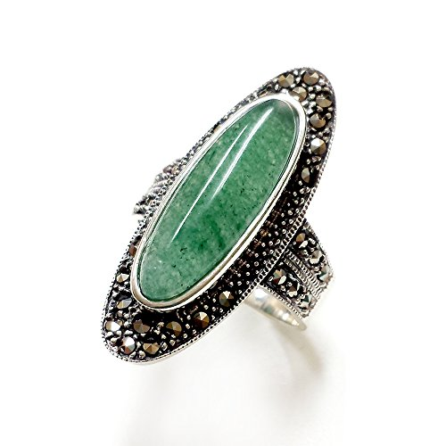 - .925 Sterling Silver with Marcasite Oval Natural Green Jade Ring (7)