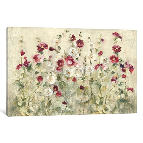 """iCanvasART WAC3822 Hollyhocks Row Cool Gallery Wrapped Canvas Art Print by Cheri Blum, 18"""" x 0.75"""" x 26"""" from iCanvasART"""