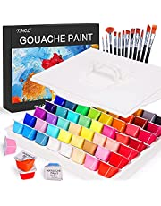 Gouache Paint Set, 56 Colors x 30ml Unique Jelly Cup Design with 12 Art Brushes in a Carrying Case, Art Supplies, Gouache Opaque Watercolor Painting, Perfect for Artist