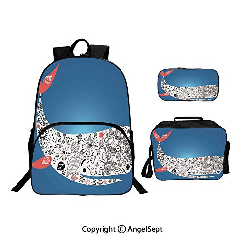 Custom Three-Piece School Bag,Lunch Bag,Pencil Bag,Huge Smiling Decoraive Ornamental Whale with Floral Designs on it Artwork Multi Colored,For Travel School Hanging Out Gifts