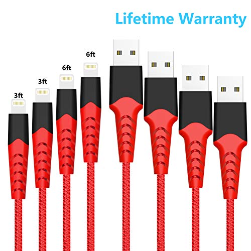 Boreguse Phone Charger, Charger Cable for iPhone, 4Pack [3.3FT 6.6FT] Nylon Braided USB Charger Cable for iPhone Xs,XS Max,XR,X,8 Plus,8,7 Plus,7,6 Plus,6,6S Plus,6s,5,iPad and More(red) (Iphone Charger Warranty With)