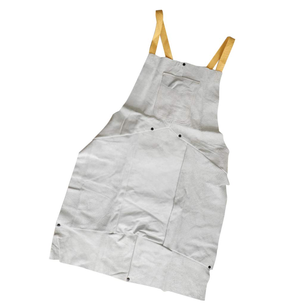 Flameer Flame Prevention 90x60cm White Leather Welding Proctective Apron with Pockets Splatter Proof