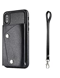For iphone XS MAX Phone Case Wallet Cover with Card Holder Hand Strap, Black