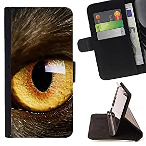For Sony Xperia Z1 Compact D5503 Cat Eye Orange Yellow Fur Pet Looking Style PU Leather Case Wallet Flip Stand Flap Closure Cover