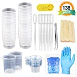 LET'S RESIN Mixing Cups Epoxy Resin Cups with Sticks Kit - 2pcs 100ml Measuring Cups, 20pcs 2oz Graduated Cups,50pcs Disposable Cups with Mixing Sticks, Dropping Pipette, Tweezers & Gloves for Epoxy R