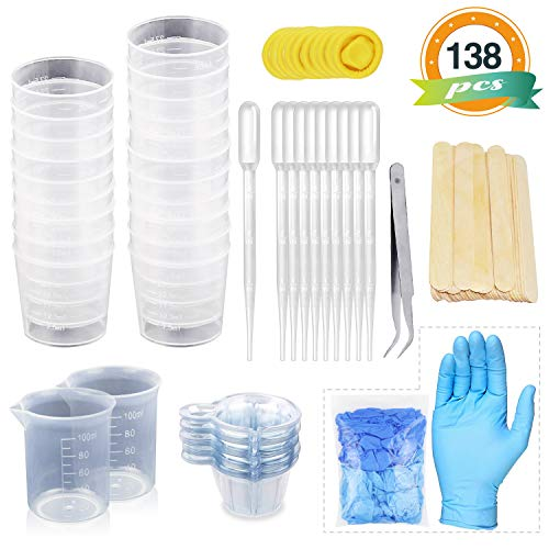 LET'S RESIN Mixing Cups Epoxy Resin Cups with Sticks Kit - 2pcs 100ml Measuring Cups, 20pcs 2oz Graduated Cups,50pcs Disposable Cups with Mixing Sticks, Dropping Pipette, Tweezers & Gloves for - Mixing Ink Kit