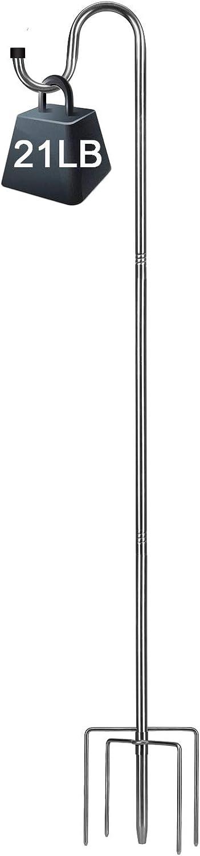 COCONUT 46 Inch Shepherds Hook, 5/8 inch Diameter Shepherds Hook with 5 Prongs Base Stainless Steel Garden Hanging Holder for Planter Lanterns Weddings Decor, Silver