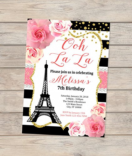 Amazoncom Paris Birthday Invitations Eiffel Tower Invitations