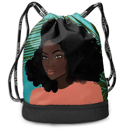 - Mens Women Drawstring Bag Theft Proof Lightweight Beam Backpack, Swim Cinch Sackpack - Afro Lady African American Black Women Girls Art Waterproof Backpack Soccer Basketball Bag