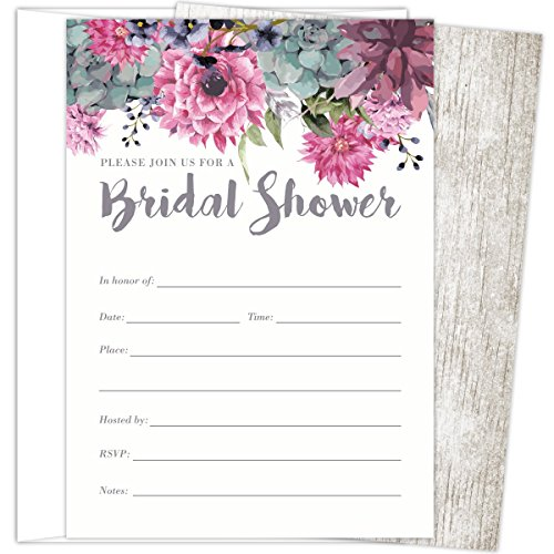 Koko Paper Co Bridal Shower Invitations Set of 25 Cards and Envelopes, Fill-In Style Vintage Rustic Design with Pink, Grey, Blue and Purple Watercolor Florals. Printed on Heavy 140lb Card Stock. ()