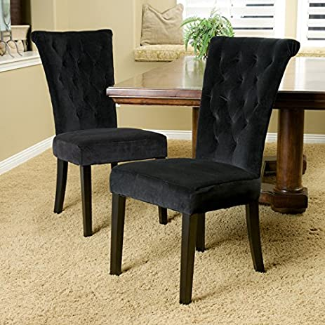 Contemporary Tufted Venetian Black Velvet Dining Room Chair (Set Of 2)