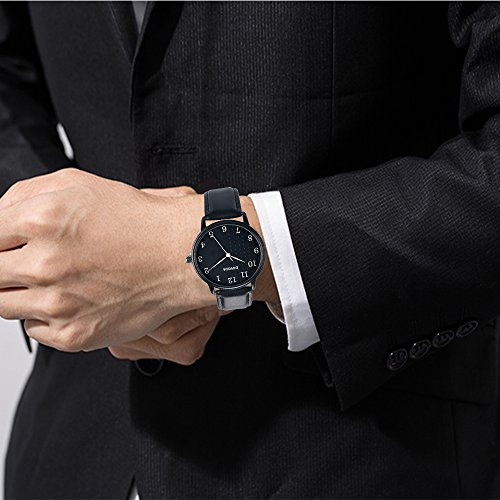 Black Watches for Men Stylish Elegant Quartz Analog Easy Reader Watch with White Number Time Markers and Black Dial Leather Strap for Everyday Wear by DOVODA (Image #5)