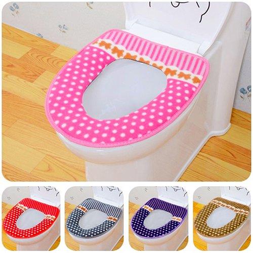Slendima Cute Dot Stripes Toilet Seat Cover Lid Pad Soft Closestool Warm Mat Bathroom Accessory Pink by Slendima (Image #3)
