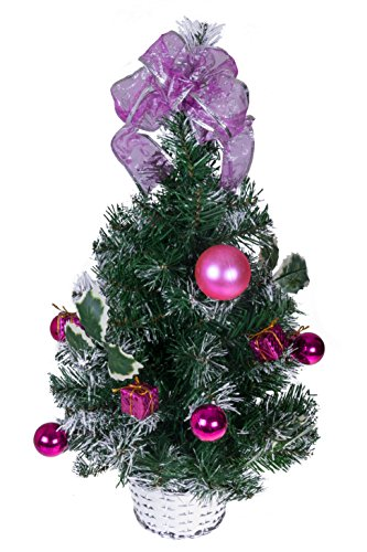 "Tabletop Christmas Tree by Clever Creations | Decorated with Pink Balls, Presents and Holly in a Silver Basket | Festive Holiday Décor | Classic Theme | Lightweight Shatter Resistant | 23.5"" Tall"