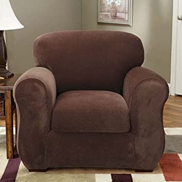 living room chair slipcovers. Sure Fit Stretch Pique 3 Piece  Chair Slipcover Chocolate SF36718 Amazon com