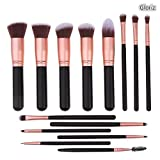 Set de brochas para maquillaje, Gloriz Conjunto de 14 brochas profesionales, Brochas para sombra de ojos y rostro, Regalo ideal, Color oro rosa (brochas)