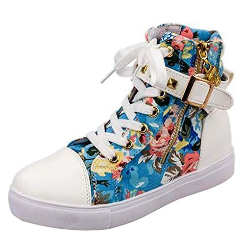 ? Women Canvas Shoes Clearance, Xinantime 2018 Newest Ladies High-Top Solid Color Sneakers Flat Zip Shoes Autumn Short Boots Blue