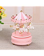 cooayz dyz Lovely and Unique Wooden Rotating Carousel Figurine Music Box Kid Musical Toy Toy-Pink+White