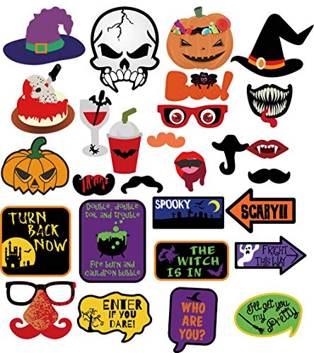 Richboom 66pcs Halloween Party Photo Booth Props Skull Witch Hat Pumpkin Bat Halloween Party Decor Supply by Richboom (Image #1)