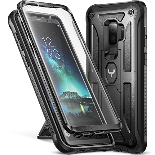 Galaxy S9+ Plus Case, YOUMAKER Kickstand Case with Built-in Screen Protector Shockproof Case Cover for Samsung Galaxy S9 Plus 6.2 inch (2018) - Black - Kickstand Screen