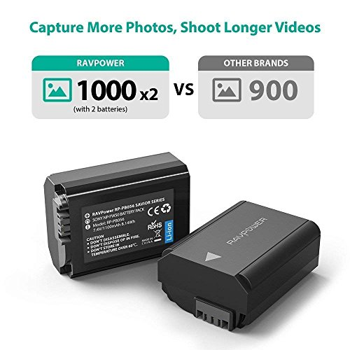 NP-FW50 RAVPower Camera Batteries Charger Set for Sony A6000 Battery, A6500, A6300, A6400, A7, A7II, A7RII, A7SII, A7S, A7S2, A7R, A7R2, A55, A5100, RX10 Accessories (2-Pack, Micro USB Port, 1100mAh)