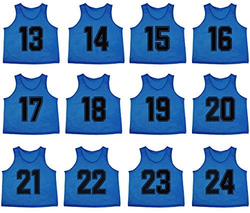 Oso Athletics Set of 12 Premium Polyester Mesh Numbered Jerseys / Scrimmage Vests / Pinnies with Carrying Bag for Children, Youth, & Adult Team Sports Soccer, Basketball (Blue (#13-24), Adult)