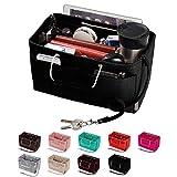 Purse Organizer, Multi-Pocket Felt Handbag Organizer, Purse Insert Organizer with Handles, Medium, Large (Large, Black)