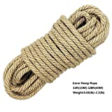 100% Natural Hemp Ropes - Hautton® 6mm Thickness and Strong Jute Rope,Camping Rope,Multi Purpose Utility Sisal Rop,10m(32ft)-40m(128ft) (30m(96ft))