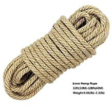 100% Natural Hemp Ropes - Hautton® 6mm Thickness and Strong Jute Rope,Camping Rope,Multi Purpose Utility Sisal Rop,10m(32ft)-40m(128ft) (10m(32ft))