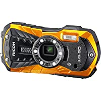 Ricoh WG-50 Waterproof/Shockproof Digital Camera (Orange) 64GB Card + Battery & Charger + Case + Tripod + Floating Strap + Kit by RICOH