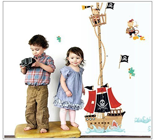 High-Season cartoon Pirate Ship baby children height measure wall stickers for kids room decoration sticker funny nursery decal mural art