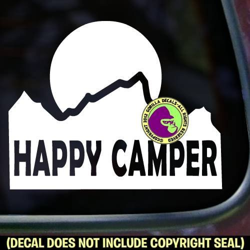 Mountain HAPPY CAMPER Vinyl Decal Sticker A