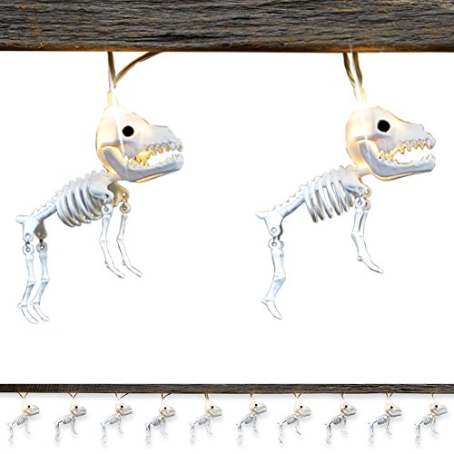 Collections Etc Skeleton Dogs Halloween String Lights with Moving Legs, Outdoor or Indoor Decoration