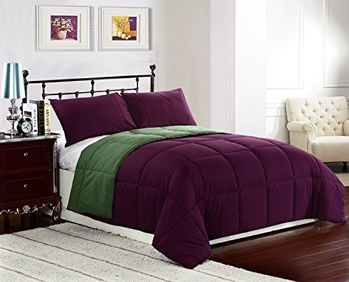 (Cozy Beddings Reversible Down Alternative 2 Piece Comforter Set, Twin/Twin XL, Green/Purple)