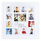 Golden State Art Baby Frames Collection, 16x16-inch My First Year Baby Photo Wood Frame, White
