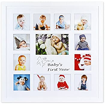 Golden State Art, Baby Frames Collection, 16x16-inch My First Year Baby Photo Wood Frame, White
