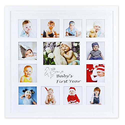 - Golden State Art Baby Frames Collection, 16x16-inch My First Year Baby Photo Wood Frame, White