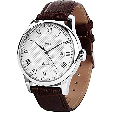 - Mens Quartz Wrist Watch, Roman Numeral Business Casual Fashion Leather Watches with Classic Calendar Date Window Waterproof and 30M PU Strap