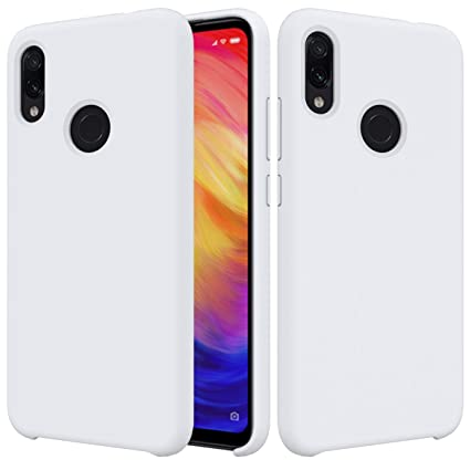CoverTpu Funda Xiaomi Redmi Note 7 Silicona, Blanco Funda Líquido de Silicona Gel TPU Flexible, Carcasa para Xiaomi Redmi Note 7 Anti-Rasguño y ...